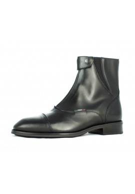 SHORT SOFT LEATHER BOOTS WITH FRONT ZIP CLOSURE AND PADDED BACK